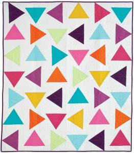 Triangle toss quilt with free-motion machine quilting