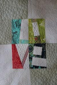 wonky letter quilt, modern machine quilting