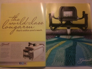 Gammill Quilting machine ad with modern quilt