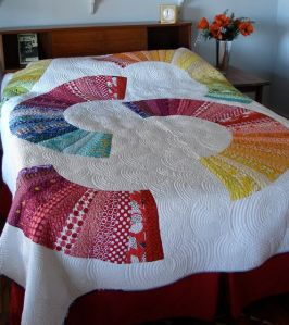 modern quilt with custom quilting