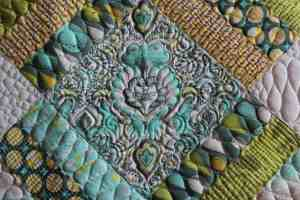 close up of custom quilting
